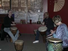 Hand drumming group lesson at Body Mind Yoga Studio, Circle Pines, MN